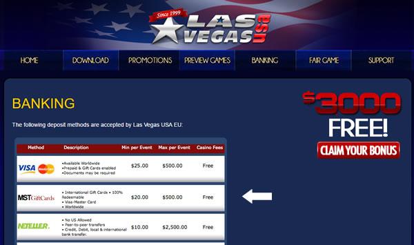 Use MST gift cards as a US friendly prepaid deposit method